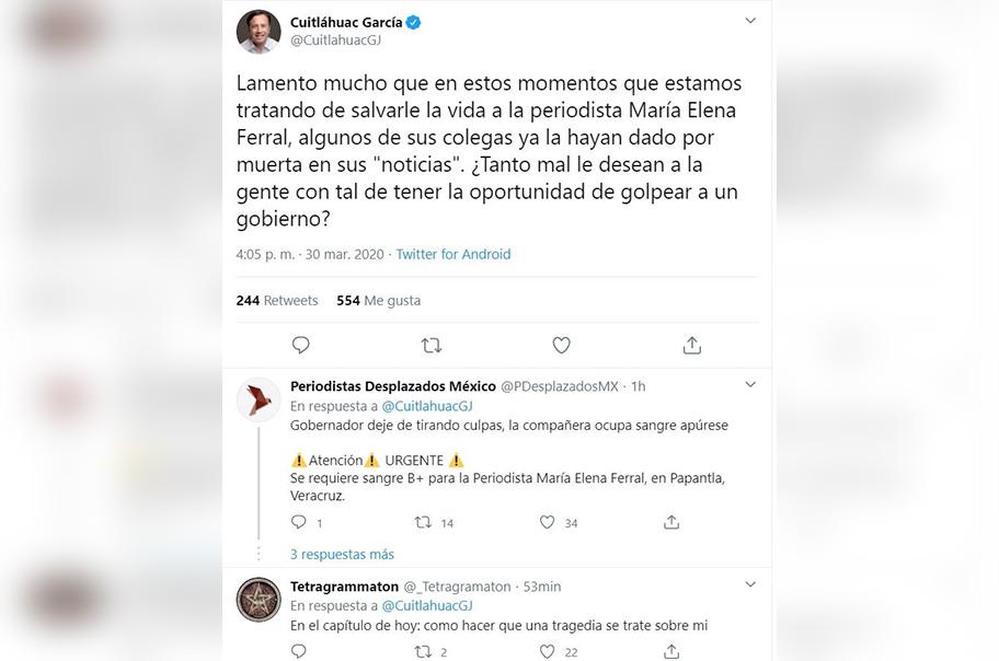 Atentan contra la vida de la periodista María Elena Ferral y Cuitláhuac García se preocupa más por él