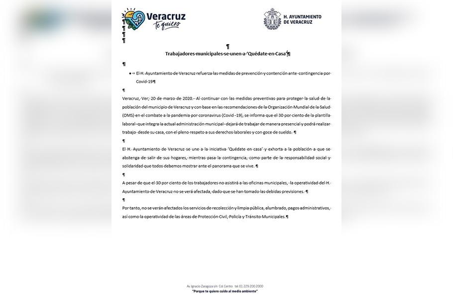El H. Ayuntamiento de Veracruz refuerza las medidas de prevención y contención