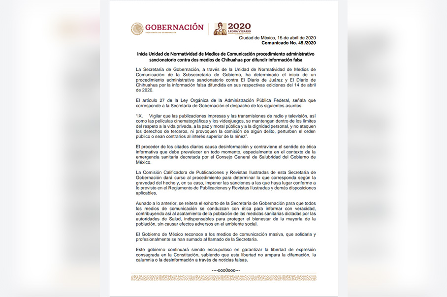 Secretaría de Gobernación sancionará a dos medios de Juárez