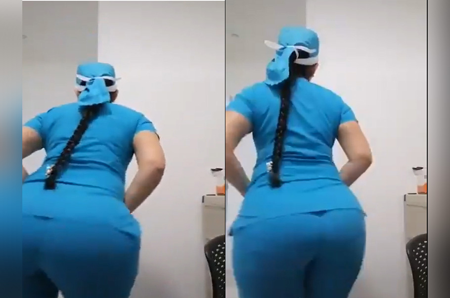 En pleno trabajo enfermera se pone a bailar mostrando su enorme trasero
