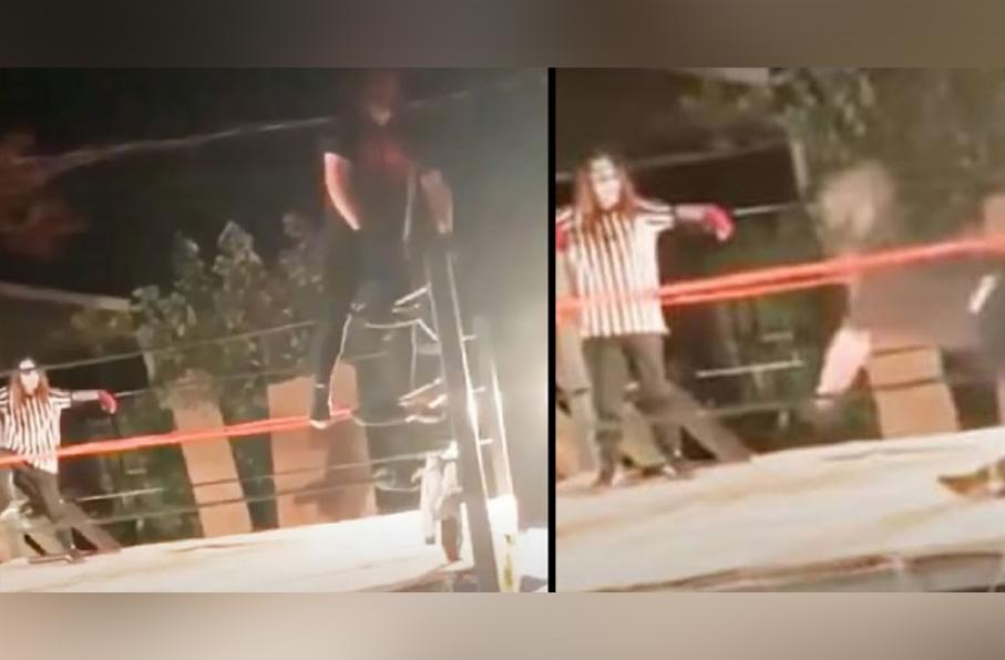 Luchador se rompe las piernas