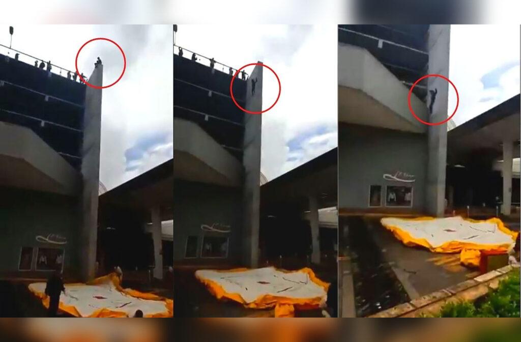Se subió al décimo piso de una plaza para quitarse la vida frente a las personas